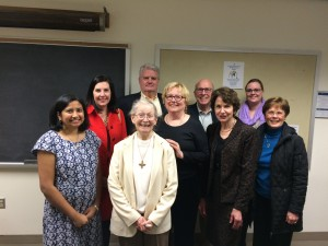 Sister Anne O'Donnell with Society Members.