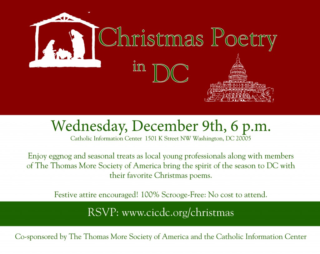Christmas Poetry in DC on Wednesday, December 9th, 6 PM